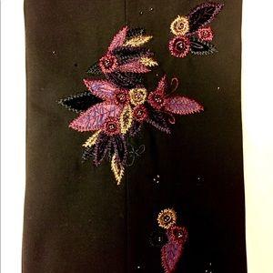 Wool slacks w beautiful embroidered legs